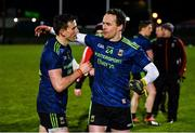 16 March 2019; Jason Doherty, left, and Andy Moran of Mayo celebrate after defeating Kerry in their Allianz Football League Division 1 Round 6 match between Kerry and Mayo at Austin Stack Park in Tralee, Co. Kerry. Photo by Diarmuid Greene/Sportsfile