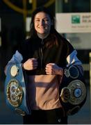 17 March 2019; Newly crowned WBA, IBF & WBO Female Lightweight World Champion Katie Taylor on her arrival at Dublin Airport. Taylor defeated Brazilian boxer Rose Volante in their unification bout at the Liacouras Center in Philadelphia, USA, on Friday, March 15. Photo by Stephen McCarthy/Sportsfile