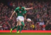 16 March 2019; Jonathan Sexton of Ireland kicks a restart during the Guinness Six Nations Rugby Championship match between Wales and Ireland at the Principality Stadium in Cardiff, Wales. Photo by Ramsey Cardy/Sportsfile