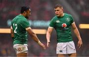 16 March 2019; Bundee Aki, left, and Garry Ringrose of Ireland during the Guinness Six Nations Rugby Championship match between Wales and Ireland at the Principality Stadium in Cardiff, Wales. Photo by Ramsey Cardy/Sportsfile