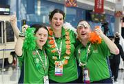 17 March 2019; Team Ireland Table Tennis Stars, from left, Fiodhna O'Leary, a member of the Blackrock Flyers Special Olympics Club, from Dublin 18, Co. Dublin, Aoife McMahon, a member of COPE Foundation, from Clonakilty, Co. Cork, and Francis Power, a member of the Navan Arch Club, from Navan, Co. Meath, relax as they enjoy St Patrick's Day on Day Three of the 2019 Special Olympics World Games in the Abu Dhabi National Exhibition Centre, Abu Dhabi, United Arab Emirates. Photo by Ray McManus/Sportsfile