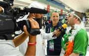 17 March 2019; Caroline Murray, Table Tennis Head Coach, and Team Ireland's Francis Power, a member of the Navan Arch Club, from Navan, Co. Meath, are interviewed by Mohomed Alhamed of the local AD Sports on  Day Three of the 2019 Special Olympics World Games in the Abu Dhabi National Exhibition Centre, Abu Dhabi, United Arab Emirates. Photo by Ray McManus/Sportsfile