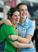 17 March 2019; Team Ireland's Aoife McMahon, a member of COPE Foundation, from Clonakilty, Co. Cork, left, and table tennis athletic services volunteer Sarah Hayes, from Rosscarbery, Cork, celebrate St. Patrick's day on Day Three of the 2019 Special Olympics World Games in the Abu Dhabi National Exhibition Centre, Abu Dhabi, United Arab Emirates. Photo by Ray McManus/Sportsfile