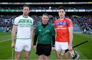 17 March 2019; Ballyhale Shamrocks captain Michael Fennelly, St Thomas' captain Conor Cooney and referee Fergal Horgan prior to the AIB GAA Hurling All-Ireland Senior Club Championship Final match between Ballyhale Shamrocks and St Thomas' at Croke Park in Dublin. Photo by Harry Murphy/Sportsfile