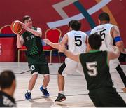 17 March 2019; Team Ireland's Stephen Murphy, a member of the Palmerstown Wildcats Special Olympics Club, from Lucan, Co. Dublin, in action against France in the Basketball game on Day Three of the 2019 Special Olympics World Games in the Abu Dhabi National Exhibition Centre, Abu Dhabi, United Arab Emirates. Photo by Ray McManus/Sportsfile