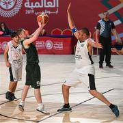 17 March 2019; Team Ireland's Leon McDaid, a member of the North West SOC, from Convoy, Co. Donegal, shoots under pressure from Faycal Bellouall of France in the SO Ireland v SO France Basketball game on Day Three of the 2019 Special Olympics World Games in the Abu Dhabi National Exhibition Centre, Abu Dhabi, United Arab Emirates. Photo by Ray McManus/Sportsfile