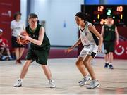 17 March 2019; Team Ireland's Leon McDaid, a member of the North West SOC, from Convoy, Co. Donegal, takes on Hajar Maaroufi Chagrani of France during the SO Ireland v SO France Basketball game on Day Three of the 2019 Special Olympics World Games in the Abu Dhabi National Exhibition Centre, Abu Dhabi, United Arab Emirates. Photo by Ray McManus/Sportsfile