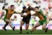 17 March 2019; Micheál Burns of Dr. Crokes' in action against Dylan Wall, left, and Cathal Silke of Corofin during the AIB GAA Football All-Ireland Senior Club Championship Final match between Corofin and Dr Crokes at Croke Park in Dublin. Photo by Harry Murphy/Sportsfile
