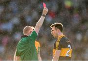 17 March 2019; Dr. Crokes' captain John Payne is sent off by referee Barry Cassidy, for a straight card offence after an incident with Dylan Wall of Corofin in the first half, during the AIB GAA Football All-Ireland Senior Club Championship Final match between Corofin and Dr Crokes' at Croke Park in Dublin. Photo by Piaras Ó Mídheach/Sportsfile