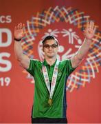 17 March 2019; Team Ireland's Patrick Quinlivan, a member of the Salto SOC from Letterkenny, Co. Donegal, after receiving the first of his seven medals for Artistic Gymnastics on Day Three of the 2019 Special Olympics World Games in the Abu Dhabi National Exhibition Centre, Abu Dhabi, United Arab Emirates. Photo by Ray McManus/Sportsfile