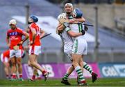 17 March 2019; Ballyhale Shamrocks players, from left, Patrick Mullen, Conor Walsh, and TJ Reid celebrate after the AIB GAA Hurling All-Ireland Senior Club Championship Final match between Ballyhale Shamrocks and St Thomas' at Croke Park in Dublin. Photo by Piaras Ó Mídheach/Sportsfile
