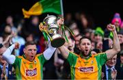 17 March 2019; Joint-captains Ciarán McGrath, left, and Micheál Lundy of Corofin lift The Andy Merrigan Cup following the AIB GAA Football All-Ireland Senior Club Championship Final match between Corofin and Dr Crokes at Croke Park in Dublin. Photo by Piaras Ó Mídheach/Sportsfile