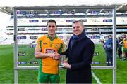 17 March 2019; Mark Doyle, Chief Marketing Officer, AIB, presents Daithí Burke of Corofin with the Man of the Match award for his outstanding performance in the AIB GAA Football All-Ireland Senior Club Championship Final match between Corofin and Dr Crokes in Croke Park on St Patrick's Day. This season marks the 28th consecutive year that AIB have proudly sponsored the AIB GAA Club Championship. AIB is delighted to continue to support the Junior, Intermediate and Senior Club Championships across Football, Hurling and Camogie. For exclusive content and behind the scenes action of the AIB GAA & Camogie Club Championships follow AIB GAA on Facebook, Twitter, Instagram and Snapchat and www.aib.ie/gaa. Photo by Piaras Ó Mídheach/Sportsfile
