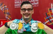 17 March 2019; Team Ireland's Patrick Quinlivan, a member of the Salto SOC from Letterkenny, Co. Donegal, who won seven medals, two Gold and five Silver, for Artistic Gymnastics on Day Three of the 2019 Special Olympics World Games in the Abu Dhabi National Exhibition Centre, Abu Dhabi, United Arab Emirates. Photo by Ray McManus/Sportsfile