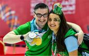 17 March 2019; Team Ireland volunteer Ann Marie Jennings, from Newry, with Team Ireland's Patrick Quinlivan, a member of the Salto SOC from Letterkenny, Co. Donegal, who won seven medals, two Gold and five Silver, for Artistic Gymnastics on Day Three of the 2019 Special Olympics World Games in the Abu Dhabi National Exhibition Centre, Abu Dhabi, United Arab Emirates. Photo by Ray McManus/Sportsfile