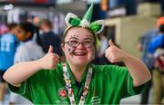 17 March 2019; Team Ireland's Eimear Gannon, a member of the South Dublin Special Olympics Sports Club, from Dublin 16, Co. Dublin, enjoys St Patrick's Day on Day Three of the 2019 Special Olympics World Games in the Abu Dhabi National Exhibition Centre, Abu Dhabi, United Arab Emirates. Photo by Ray McManus/Sportsfile