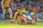 17 March 2019; John Payne of Dr. Crokes' connects with Dylan Wall of Corofin, before being shown a straight red by referee Barry Cassidy, during the AIB GAA Football All-Ireland Senior Club Championship Final match between Corofin and Dr Crokes at Croke Park in Dublin. Photo by Piaras Ó Mídheach/Sportsfile