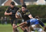 17 March 2019; Jason Connolly of Kilkenny RFC is tackled by Daniel McHugh of Longford RFC during the Bank of Ireland Leinster Provincial Towns Cup Quarter-Final match between Longford RFC and Kilkenny RFC at Longford RFC in Longford. Photo by Matt Browne/Sportsfile
