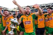 17 March 2019; Micheál Lundy of Corofin celebrates with The Andy Merrigan Cup after the AIB GAA Football All-Ireland Senior Club Championship Final match between Corofin and Dr Crokes' at Croke Park in Dublin. Photo by Piaras Ó Mídheach/Sportsfile