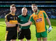 17 March 2019; John Payne of Dr. Crokes'  and Micheál Lundy of Corofin shakes hands across referee Barry Cassidy prior to the AIB GAA Football All-Ireland Senior Club Championship Final match between Corofin and Dr Crokes at Croke Park in Dublin. Photo by Harry Murphy/Sportsfile