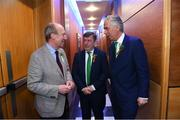 17 March 2019; In attendance at the Three FAI International Awards at RTE Studios in Donnybrook, Dublin, are from left, Minister for Transport, Tourism and Sport, Shane Ross T.D., FAI President Donal Conway and Republic of Ireland manager Mick McCarthy. Photo by Stephen McCarthy/Sportsfile