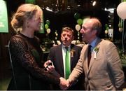 17 March 2019; In attendance at the Three FAI International Awards at RTE Studios in Donnybrook, Dublin, are from left, former Republic of Ireland international Emma Byrne, FAI President Donal Conway and Minister for Transport, Tourism and Sport, Shane Ross T.D. Photo by Stephen McCarthy/Sportsfile