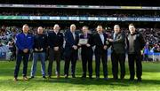 17 March 2019; In attendance, are, from left, Brian O'Shaughnessy, Campey, Jim Holden, Turfcare, Colman Warde, ICL, Uachtarán Chumann Lúthchleas Gael John Horan,Jimmy Walsh, Kilkenny Chairman,John Coogan, Kilkenny Groundsman, Kieran McGann, Chairman GAA National Pitch workgroup, and Croke Park Pitch Manager Stuart Wilson, as Nowlan Park in Kilkenny is recognised as the 2018 County Pitch of the Year at the AIB GAA Hurling and Football All-Ireland Senior Club Championship Finals at Croke Park in Dublin. Photo by Piaras Ó Mídheach/Sportsfile