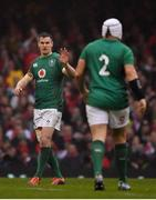 16 March 2019; Jonathan Sexton of Ireland reacts during the Guinness Six Nations Rugby Championship match between Wales and Ireland at the Principality Stadium in Cardiff, Wales. Photo by Brendan Moran/Sportsfile