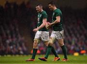 16 March 2019; Jonathan Sexton, right, and Peter O'Mahony of Ireland during the Guinness Six Nations Rugby Championship match between Wales and Ireland at the Principality Stadium in Cardiff, Wales. Photo by Brendan Moran/Sportsfile