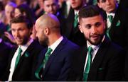 17 March 2019; Shane Long of Republic of Ireland, right, prior to the Three FAI International Awards at RTE Studios in Donnybrook, Dublin. Photo by Stephen McCarthy/Sportsfile
