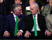 17 March 2019; John Delaney, CEO, Football Association of Ireland, and Republic of Ireland manager Mick McCarthy during the Three FAI International Awards at RTE Studios in Donnybrook, Dublin. Photo by Stephen McCarthy/Sportsfile