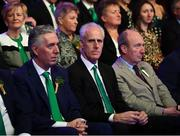 17 March 2019; John Delaney, CEO, Football Association of Ireland, Republic of Ireland manager Mick McCarthy and Minister for Transport, Tourism and Sport, Shane Ross T.D. at the Three FAI International Awards at RTE Studios in Donnybrook, Dublin. Photo by Stephen McCarthy/Sportsfile