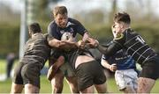 17 March 2019; Paul Gallogly of Longford RFC is tackled by Jason Connolly, Garry Dunne and Lyndon Brannigan of Kilkenny RFC during the Bank of Ireland Leinster Provincial Towns Cup Quarter-Final match between Longford RFC and Kilkenny RFC at Longford RFC in Longford. Photo by Matt Browne/Sportsfile