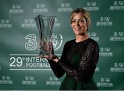 17 March 2019; Former Republic of Ireland goalkeeper Emma Byrne with her Hall of Fame award during the Three FAI International Awards at RTE Studios in Donnybrook, Dublin. Photo by Seb Daly/Sportsfile