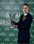 17 March 2019; Under 21 International Player of the Year Ronan Curtis with his award during the Three FAI International Awards at RTE Studios in Donnybrook, Dublin. Photo by Seb Daly/Sportsfile