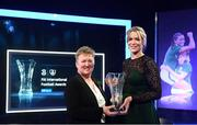 17 March 2019; Former Republic of Ireland women's goalkeeper Emma Byrne receives the Hall of Fame Award from Chairperson of the Women's Football Committee Niamh O'Donoghue during the Three FAI International Awards at RTE Studios in Donnybrook, Dublin. Photo by Stephen McCarthy/Sportsfile