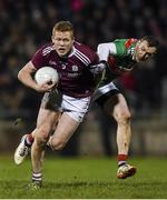 2 March 2019; Ciarán Duggan of Galway in action against Keith Higgins of Mayo during the Allianz Football League Division 1 Round 5 match between Mayo and Galway at Elverys MacHale Park in Castlebar, Mayo. Photo by Piaras Ó Mídheach/Sportsfile