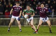 2 March 2019; Fionn McDonagh of Mayo in action against John Daly, left, and Finnian Ó Laoí during the Allianz Football League Division 1 Round 5 match between Mayo and Galway at Elverys MacHale Park in Castlebar, Mayo. Photo by Piaras Ó Mídheach/Sportsfile