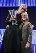 17 March 2019; Hall of Fame Award recipient Emma Byrne, fromer Republic of Ireland goalkeeper, with former team-mate Olivia O'Toole during the Three FAI International Awards at RTE Studios in Donnybrook, Dublin. Photo by Stephen McCarthy/Sportsfile