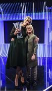 17 March 2019; Hall of Fame Award recipient Emma Byrne, former Republic of Ireland goalkeeper, with former team-mate Olivia O'Toole during the Three FAI International Awards at RTE Studios in Donnybrook, Dublin. Photo by Stephen McCarthy/Sportsfile