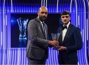 17 March 2019; Troy Parrott receives the Men's U16 International Player of the Year award from Republic of Ireland U16 manager Paul Osam during the Three FAI International Awards at RTE Studios in Donnybrook, Dublin. Photo by Stephen McCarthy/Sportsfile