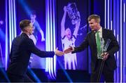 17 March 2019; Ronan Curtis receives the Men's U21 International Player of the Year award from Republic of Ireland U21 manager Stephen Kenny during the Three FAI International Awards at RTE Studios in Donnybrook, Dublin. Photo by Stephen McCarthy/Sportsfile