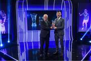 17 March 2019; Darragh Reynor of Maynooth University Town receives the Intermediate Player of the Year award from FAI Board Member Jim McConnell, Chairman of the Domestic Committee, during the Three FAI International Awards at RTE Studios in Donnybrook, Dublin. Photo by Stephen McCarthy/Sportsfile