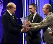 17 March 2019; Brendan Bradley receives the Special Merit award from Minister for Transport, Tourism and Sport, Shane Ross T.D. and Alan Peyton of Three during the Three FAI International Awards at RTE Studios in Donnybrook, Dublin. Photo by Stephen McCarthy/Sportsfile