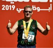 18 March 2019; Team Ireland's Alan Power, a member of the South Dublin Special Olympics Sports Club, from Wood Town, Knocklyon, Co Dublin, who won a Bronze medal, in the 5,000m race on Day Four of the 2019 Special Olympics World Games in the Dubai Police Officer's Club Stadium, Dubai, United Arab Emirates.  Photo by Ray McManus/Sportsfile