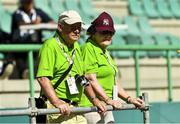 18 March 2019; Joe and Rosaleen Power, from Wood Town, Knocklyon, Dublin, watch on as their son, Team Ireland's Alan Power, wins a Bronze medal, in the 5,000m race, on Day Four of the 2019 Special Olympics World Games in the Dubai Police Officer's Club Stadium, Dubai, United Arab Emirates.  Photo by Ray McManus/Sportsfile