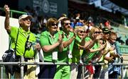 18 March 2019; Team Ireland's supporters includings from left, Joe Power, who's son Alan won a Bronze medal in the 5,000m, Jo McDaid and Special Olympics CEO Matt Engllish cheer on compeditors on Day Four of the 2019 Special Olympics World Games in the Dubai Police Officer's Club Stadium, Dubai, United Arab Emirates.  Photo by Ray McManus/Sportsfile