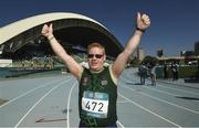 18 March 2019; Team Ireland's Alan Power, a member of the South Dublin Special Olympics Sports Club, from Wood Town, Knocklyon, Co. Dublin, celebrates winning a Bronze medal, in the 5,000m race, on Day Four of the 2019 Special Olympics World Games in the Dubai Police Officer's Club Stadium, Dubai, United Arab Emirates.  Photo by Ray McManus/Sportsfile