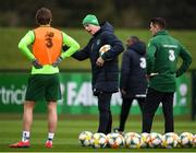 18 March 2019; Republic of Ireland manager Mick McCarthy, centre, with assistant coach Robbie Keane, in conversation with Jeff Hendrick, left, during a Republic of Ireland training session at the FAI National Training Centre in Abbotstown, Dublin. Photo by Stephen McCarthy/Sportsfile