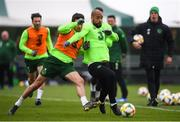 18 March 2019; David McGoldrick and Robbie Brady during a Republic of Ireland training session at the FAI National Training Centre in Abbotstown, Dublin. Photo by Stephen McCarthy/Sportsfile